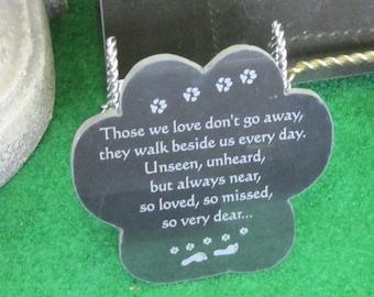 Granite Paw Memorial for Dog or Beloved Pet with Laser Engraved Poem