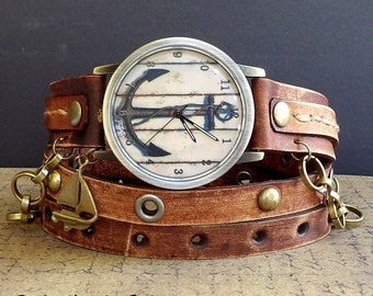 Anchor Watch, Nautical Watch, Brown Watch, Leather Watch, Ladies Watch, Women's watch, Anchor Jewelry, leather wrap watch