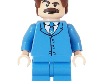 LIMITED BLUE EDITION (70's News Anchor (Anchorman) - miniBIGS Custom Minifigure