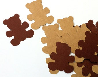 Teddy Bear shape embellishments die cuts. Baby shower, teddy bears picnic, birthdays, gifts. Chocolate brown or Natural kraft.