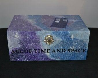 Doctor Who Tardis Galaxy Hand Painted Wooden Keepsake Jewelry Trinket Box