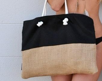 Burlap Bottom Beach Bag - Bags & Totes - Custom Color