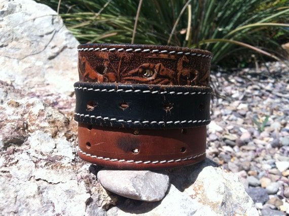 Repurposed leather cuff upcycled leather cuff mens leather Repurposed leather belts