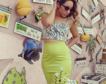 Daisy Days High Waist Lime Pencil Skirt