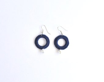 Blue earring, circle earring in blue cotton. Textile Jewelry, earrings with little syntetic pearl crochet jewellery. Elegant earrings.