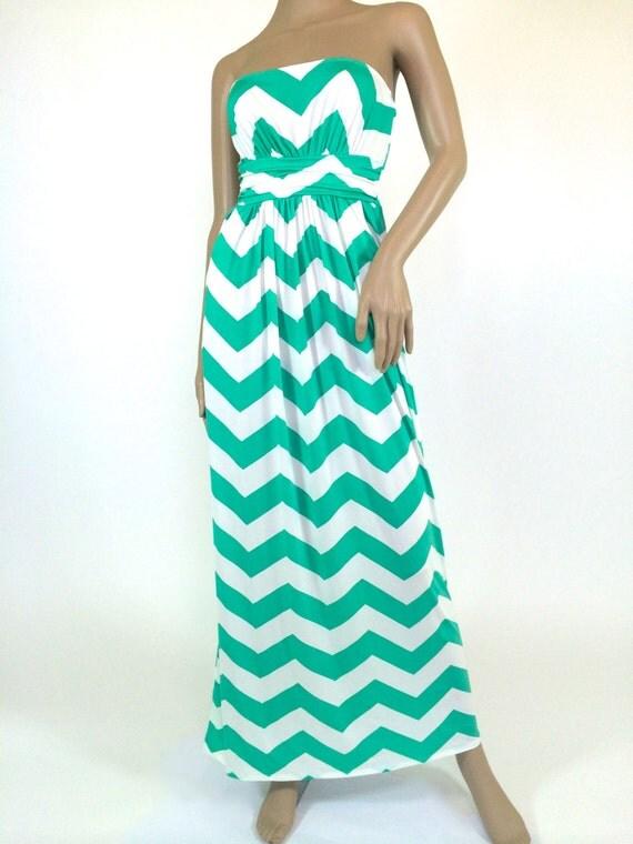 Plus Size Chevron Maxi Dress Mint & White Chevron Print With
