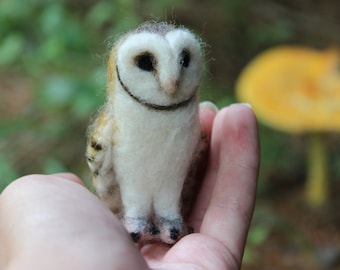 Needle Felted Miniature Realistic Barn Owl - Made to Order