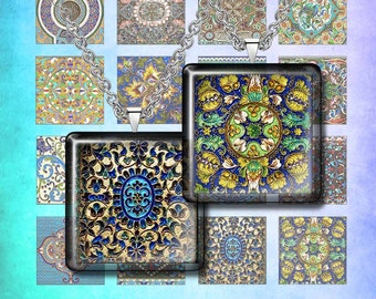 FOLK PATTERNS -  Digital Collage Sheet – 1x1 inch squares– Printable Download for Pendants, Earrings, Charms