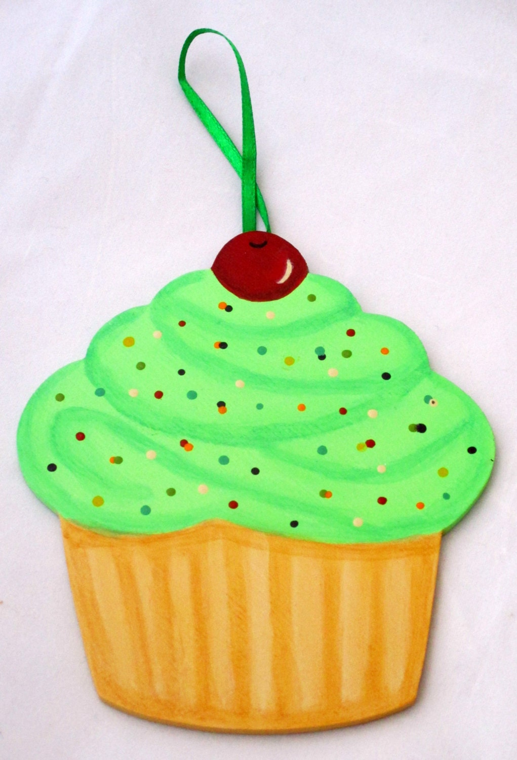 Cupcake Wall Hanging Hand Painted cupcake decor wall