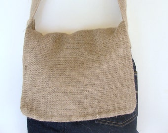 Burlap and Upcycled Jeans Messenger Bag