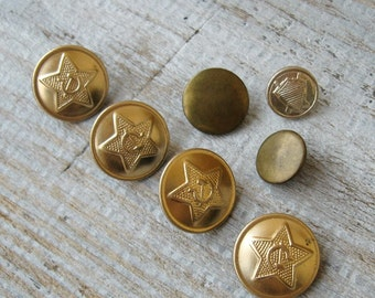 Soviet Military Buttons Vintage metal mix buttons