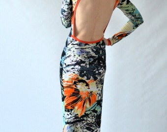 Print maxi dress with cut out back