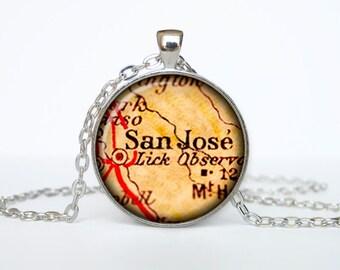 San Jose map pendant, San Jose map necklace,San Jose map jewelry, San Jose California