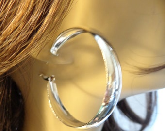 2 inch Thick Silver tone Hoop Earrings 0.33 inch thick Lightweight