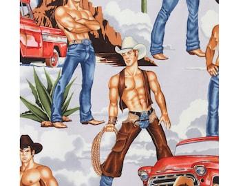 Wrangler Cowboy Western Hunks Pin Ups Alexander Henry Fabric in Bright / Brite