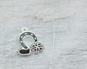 Horse Shoe Charm, Sterling Silver Lucky Charm Pendant Horseshoe Heart Shamrock, Jewelry Making Findings, Craft Supplies, OOAK Silver Charms
