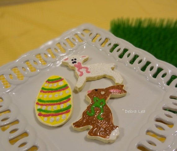 Set of 3 Handmade Fake Cookie Faux  Easter Sugar Cookie Set Bunny Egg Lamb