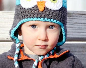 Blue and Grey Boy Owl Hat with Ear Flaps - Newborn, Baby, Toddler