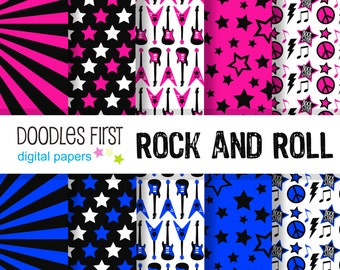 Rock and Roll RockBand Digital Paper Pack Includes 10 for Scrapbooking Paper Crafts