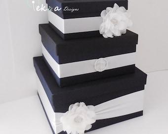 Wedding gift card box / wedding money box / wedding card holder/ wedding card box / 3 Tier card box (Black & White)
