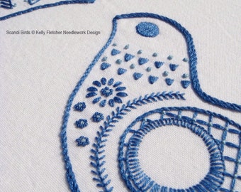 Scandi Birds Scandinavian hand embroidery pattern