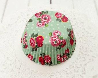 Vintage Mint Green Floral Cupcake Liners (50)