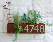 Mid-Century Succulent Wall Trough Planter & Address Plaque - Rust Planter w/ (4) Brushed Aluminum Address Numbers (Free Shipping)