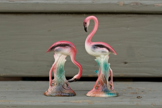 Pair Of Vintage Ceramic Flamingo Figurines 1950 S
