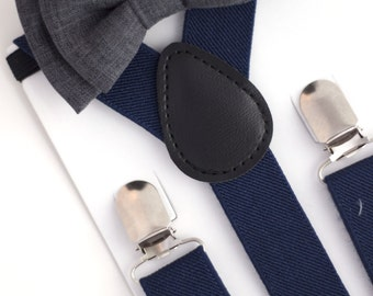 SUSPENDER & BOWTIE SET.  Newborn - Adult sizes. Navy Blue Suspenders. Dark grey bowtie.