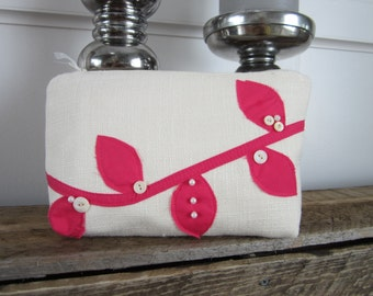 Pink Wedding Purse, Pink Clutch Bag, Ivory Clutch Bag, Brides Makeup Bag, Pink Evening Bag Pink Bridal Purse, Bridal Clutch Bag Ivory Purse