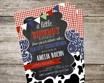 Western Baby Shower Invitation. Western Baby Shower. Cow Baby Shower Invitation. Customized 5x7 Printable Invitation DIY
