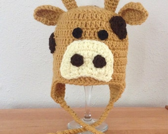 Crochet Giraffe Animal Earflap Hat for Newborn Baby Toddler Child Boy or Girl
