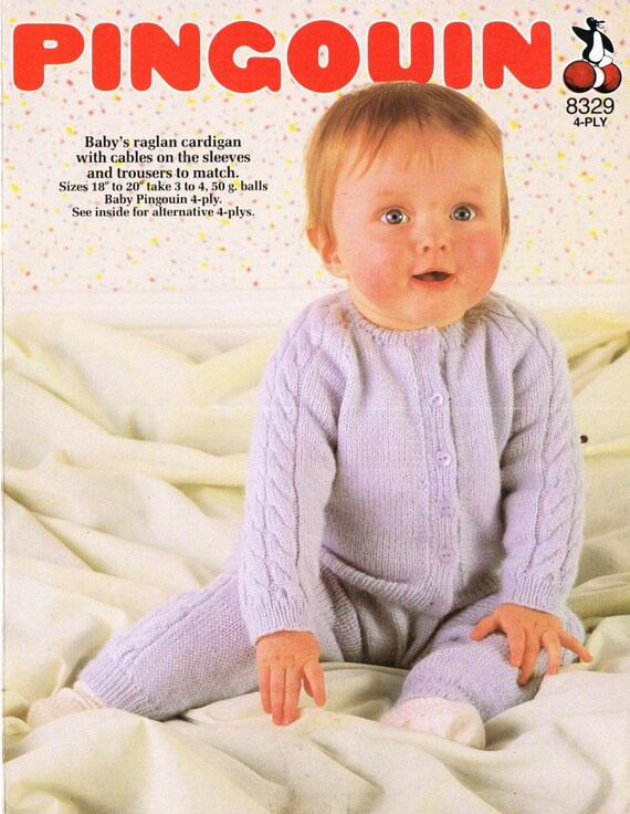 Pingouin 8329 baby cable jumper and trousers vintage knitting