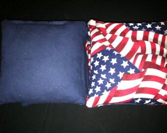 USA Flag CornHole Bags Patriotic corn hole bags USA baggo bean bag toss set of 8 bean bags