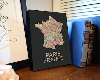Paris Map Canvas Print - Paris France Canvas Art - Paris Map Print - Paris Decor