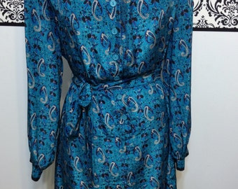 1970's Teal Paisley Print Secretary Dress by Jerrie Lurie, Vintage Size 16, Rockabilly , Hipster Large / XL