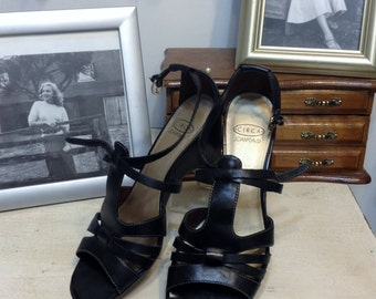 80's does 50's Black Strappy Pin Up Sandals by Joan & David, Circa Size 7 Medium, Vintage Black Rockabilly High Heel Wedge Shoes