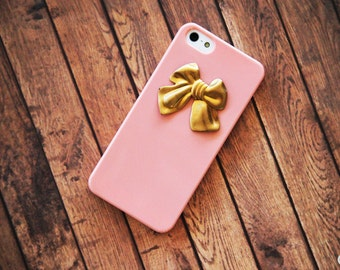 Coral iPhone Case Peach iPhone 5 Case Girly Bow Gold iPhone 4 Case iPhone 4s Case Samsung Galaxy S3 Case Samsung Galaxy S4 Case iPhone 6