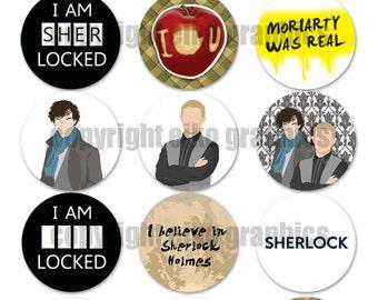 Sherlock BBC 1 inch Circle Digital Download Bottle Cap Graphics 4 x 6 inch JPG