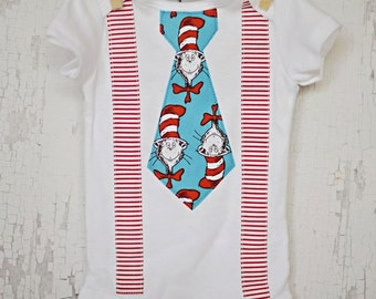 Dr. Seuss/Baby Boy Tie Suspender Onesie Bodysuit  /Daycare Outfit/Dr. Suess Birthday/Trendy/Photo Prop/Little Man/Shower Gift