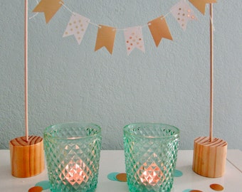 White & Gold Mini Bunting
