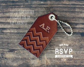 Custom Personalized Leather Luggage Tag, Initials Key Chain, Wedding Party Favor, Keychain, Leather Keyring, Single Sided, Chevron, Name