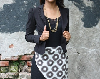 Black and White Organic Cotton Pencil Skirt with Pockets: Fair Trade, Hand Block Printed, Natural Dyes