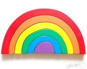 Wooden Toy Rainbow. Stacking toy, Waldorf Toddler Toy, Wooden Stacking Toy