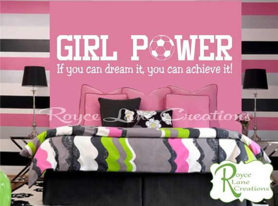Soccer Wall Decal Sports Vinyl Wall Decal Soccer Quote Girls