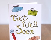Get Well Soon Happy Smiling Tissue, Thermometer, Bandage, Ice Pack. Blank. Illustration and Lettering. 100% Percent Recycled Paper