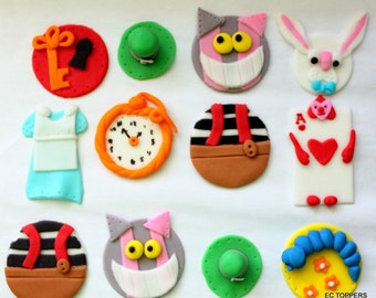 12 Alice In Wonderland Fondant Cupcake Toppers
