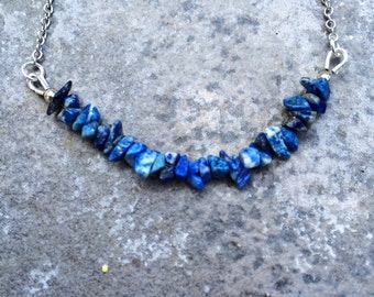 The LAPIS LAZULI Necklace // Lapis Lazuli Beaded Necklace in Antique Silver // Minimalist Boho Necklace