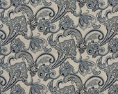 Navy, Light Blue, And Beige Floral Foliage Indoor Outdoor Woven Solution Dyed Upholstery Fabric By The Yard   Pattern #: K0123A