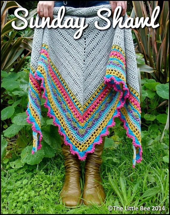 Crochet Shawl Pattern Instant Download Sunday Shawl